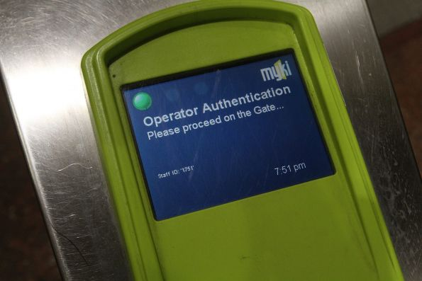 'Operator Authentication. Please proceed on the Gate...' message on a myki gate reader