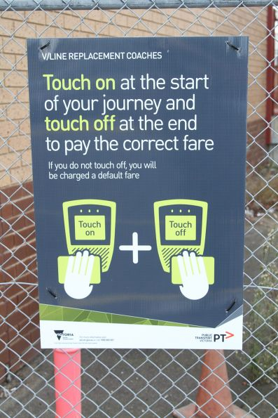 'If you do not touch off you will be charged a default fare' poster for rail replacement passengers at South Geelong station