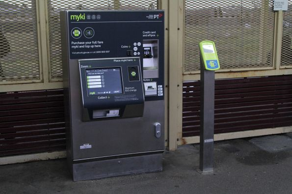 Myki reader beside the ticket machine inside the paid area at Deer Park station