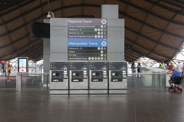 Nobody using the four myki machines at Southern Cross Station