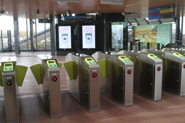 Myki gates at the entrance to Footscray station platform 2 and 3