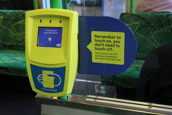 'Remember to touch on, you don't need to touch off' stickers added onboard a B2 class tram