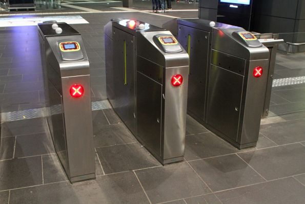Myki gates all in 'emergency exit' mode on the Collins Street concourse of Southern Cross Station