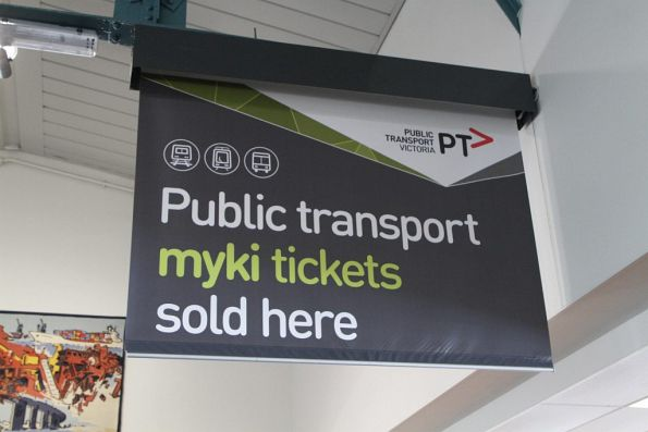 'Public transport myki tickets sold here' banner in the cruise ship terminal at Station Pier