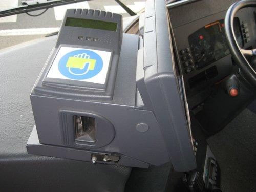 Myki Bus Driver Console in a McHarrys bus in Geelong