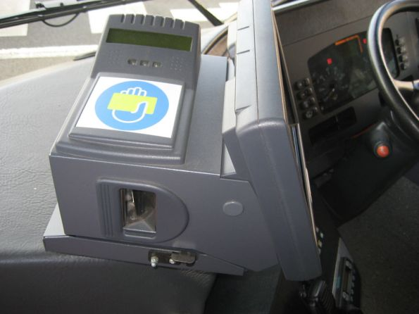 Myki Bus Driver Console in a McHarrys bus in Geelong