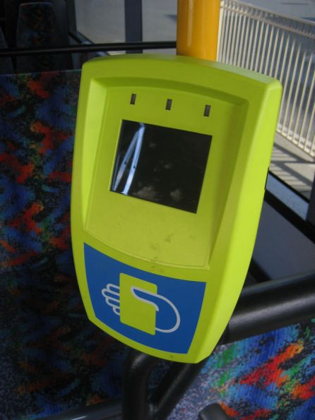 Myki Fare Payment Device (reader) aboard a McHarry's bus