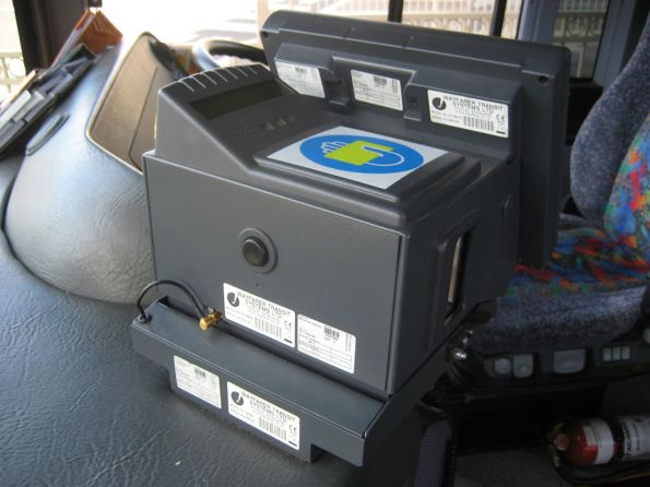 Rear view of a Myki Bus Driver Console