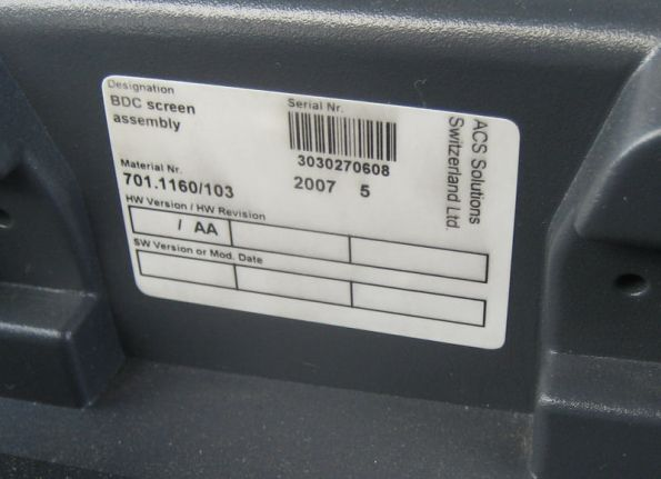 Serial number stickers on screen unit of the Bus Driver Console