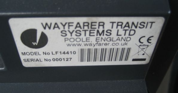 Serial number stickers on screen unit of Bus Drive Console
