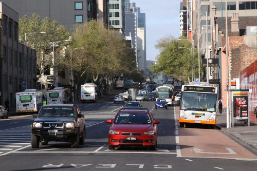 Smartbus liveried buses everywhere at the west end of Lonsdale Street: the terminus of the new DART bus routes from Doncaster into the city