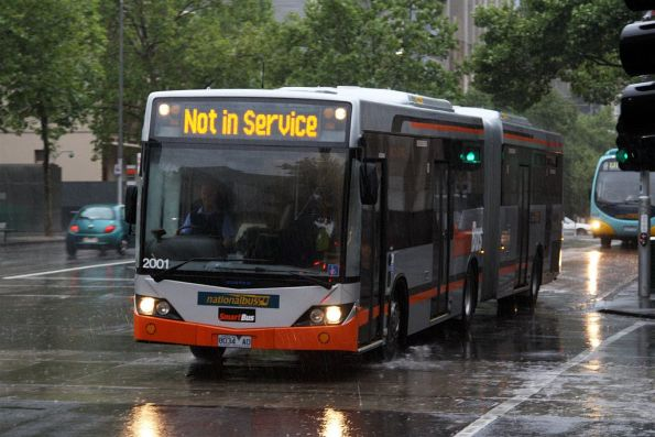 National Bus articulated bus #2001 rego 8034AO out of service westbound at William / Lonsdale Streets