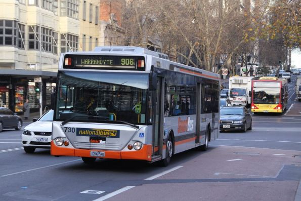 Smartbus liveried National Bus #730 rego 1730AO eastbound on route 906 along Lonsdale Street