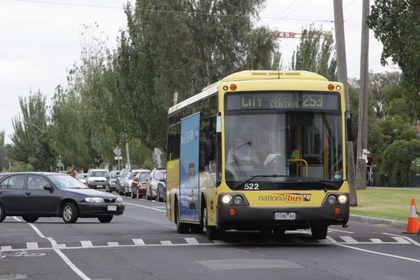 National Bus #522 0186AO on route 253 negotiates speed humps on Park Street