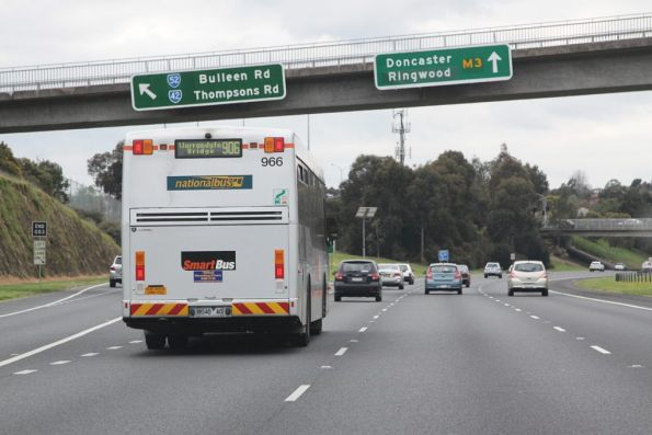 National Bus #966 heads along the Eastern Freeway on route 906 bound for Warrandyte Bridge