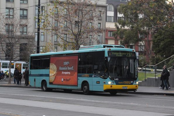 Three minutes after stopping, the crush loaded bus heads off on route 237 towards Fishermans Bend
