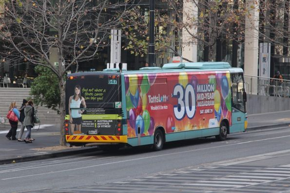 Finally, another bus for Fishermans Bend arrives outside Southern Cross Station