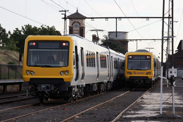 New and old X'Trapolis sets alongside at the Garden Platform, Newport