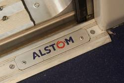 'Alstom 2009' plate by the X'Trapolis train door