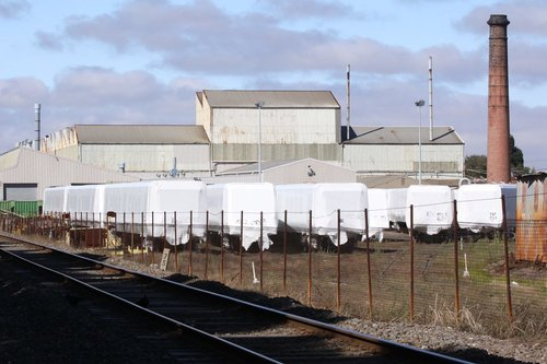 Another view of the yard full of body shells