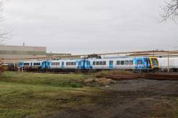 Set headed by 93M waiting at Ballarat for another 3-car set, before it is transferred to Melbourne