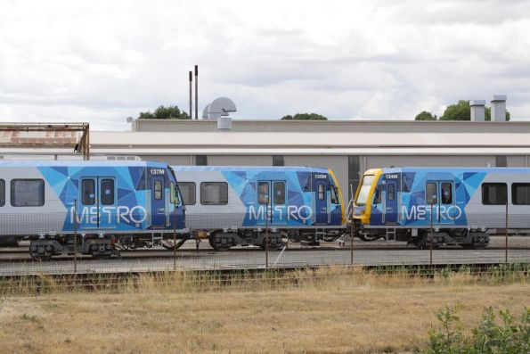 Completed X'Trapolis trains led by 134M, 135M and 137M sitting outside the Ballarat Workshops