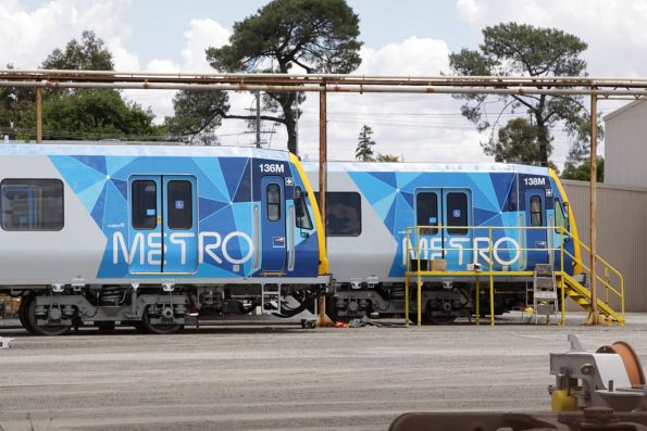 Completed X'Trapolis trains lead by 136M and 138M sitting outside the Ballarat Workshops