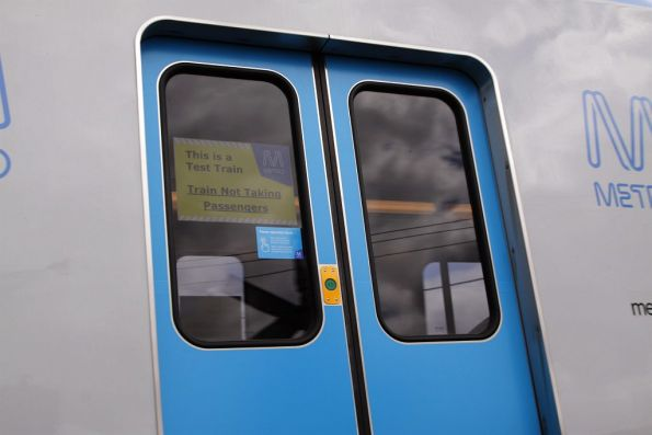 'This is a Test Train. Train Not Taking Passengers' sign in the doorway