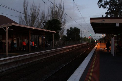 Handful of platform lights running from a generator at Newmarket station