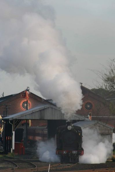 K190 steaming up at Steamrail's depot at Newport Workshops