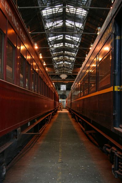 Looking down the Steamrail carriage shed