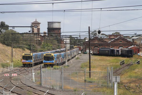 Six 3-car Comeng trains stored in the Garden platform at Newport