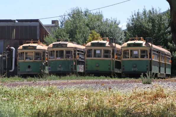 SW6.884, SW6.960, SW6.905 and SW5.845 stored on the ground outside at Newport Workshops