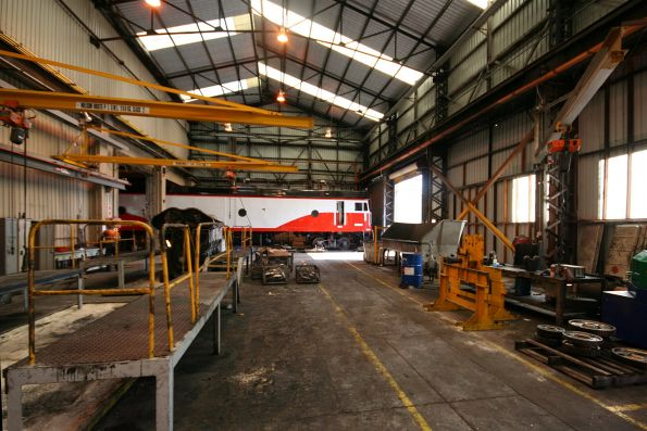 SCT G class being overhauled in the locomotive shop