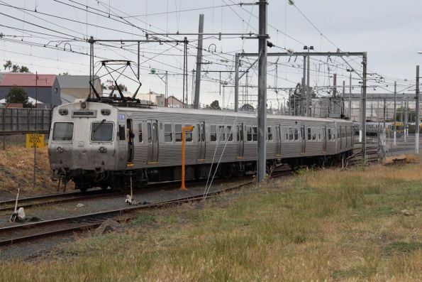 The three cars of Hitachi 277M at Newport Workshops, a 'middle motor' car showing an end not normally seen