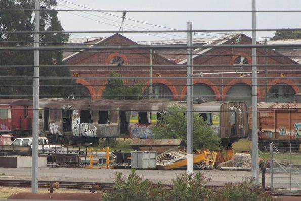 Fire damaged Comeng train 500M stored at Newport Workshops