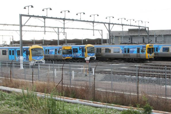 Siemens and Comeng trains stabled for the weekend at Newport Workshops