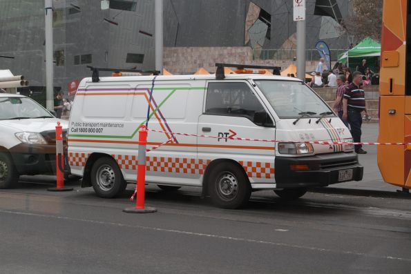 PTV branding applied to an older Mitsubishi Express van