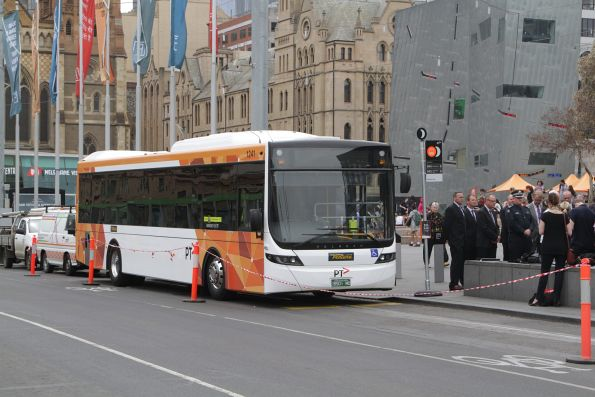 Ventura bus #1241 rego BS01MO at the Federation Square launch event