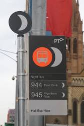 Sample PTV branded 'Night Bus' signage on display