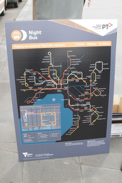 'Night Bus' network map on display at the launch event
