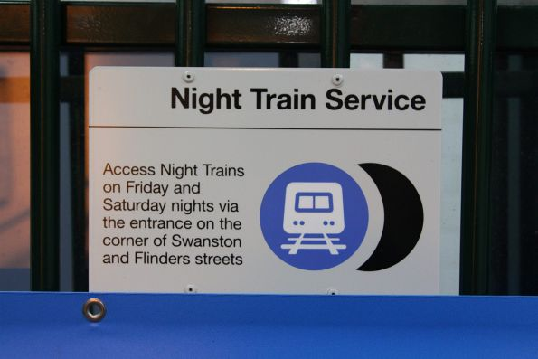 Night Train notice at the Elizabeth Street entrance to Flinders Street Station