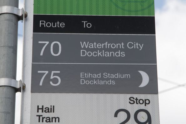 'Night Tram' logo added to a route 75 tram stop flag, requiring the destination text to be shrunk in size