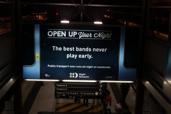 Night Network promotion at Flinders Street Station
