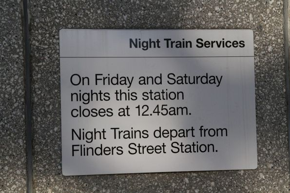 Night Train notice at the Collins Street entrance to Parliament station