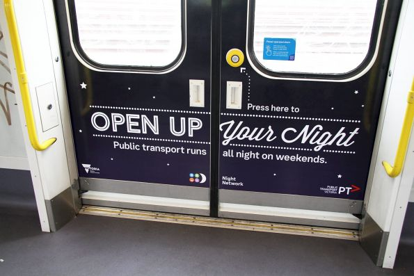 'Open up your night' advertising onboard Siemens 2502T