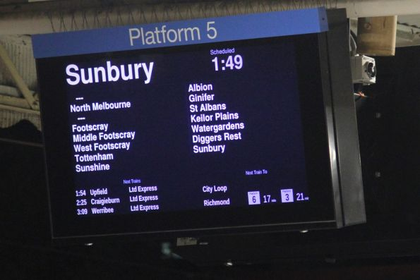 01:49 down Sunbury service skips Southern Cross Station