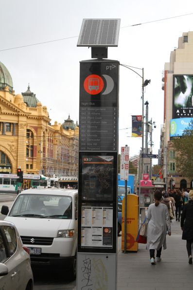 Solar powered 'Night Bus' stop at Flinders and Swanston Street