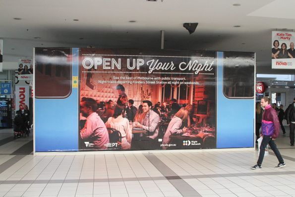 'Open up your night' promotion for Night Network at Flinders Street Station