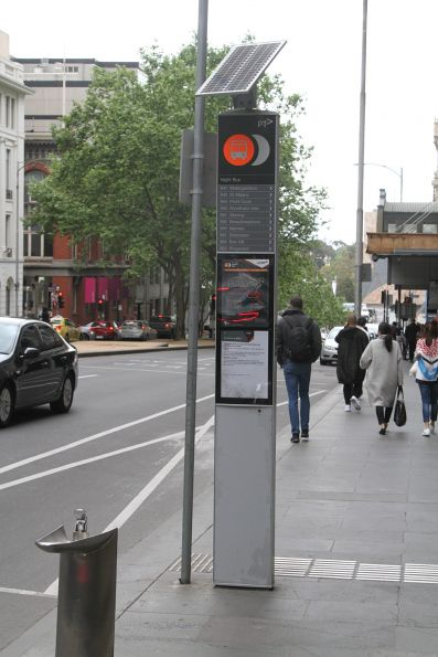 Night Bus stop at Russell and Collins Street